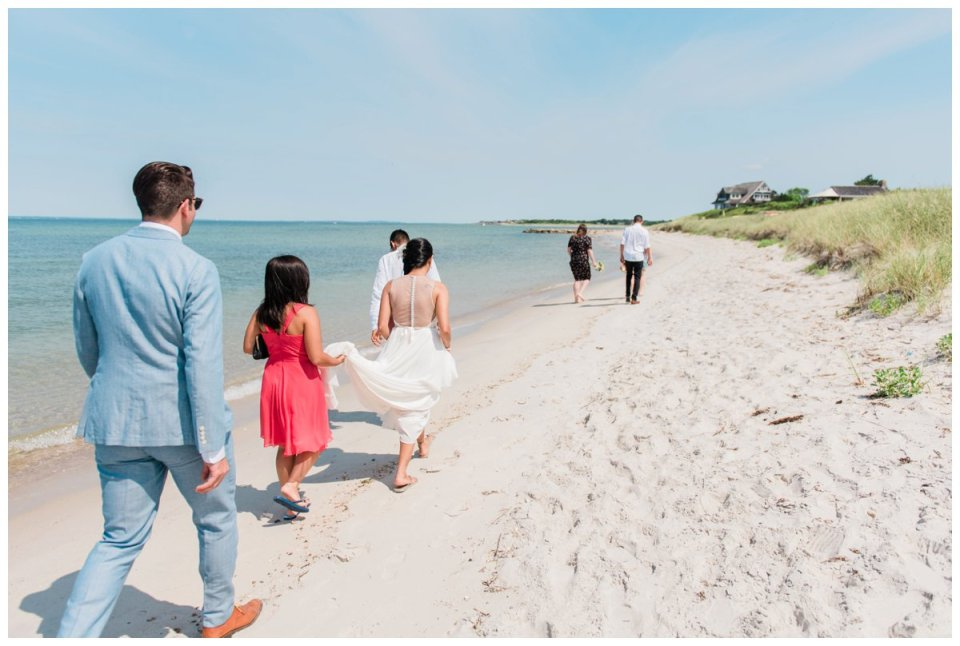 A wedding party in west falmouth for a beach wedding on cape cod
