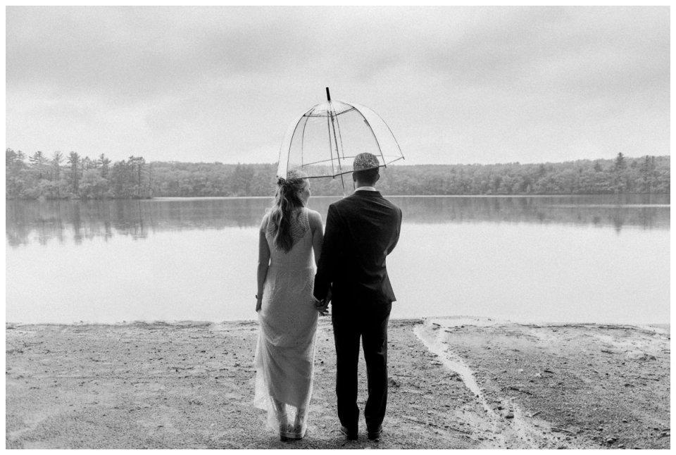 bride and groom in the rain umbrella