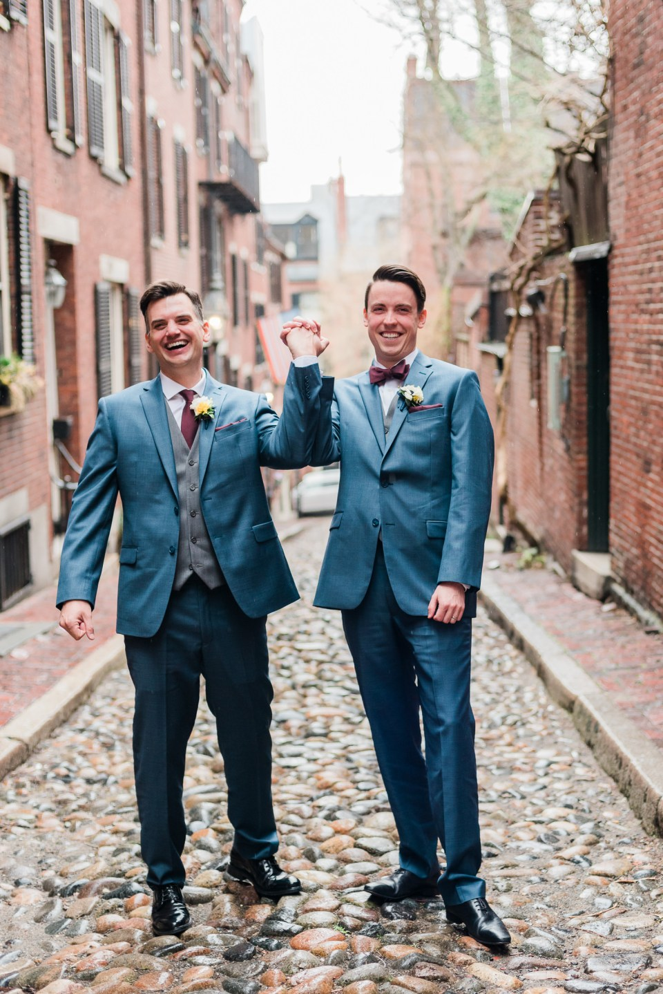 Portrait of two grooms in Beacon Hill neighborhood of Boston, MA after Cambridge City Hall elopement