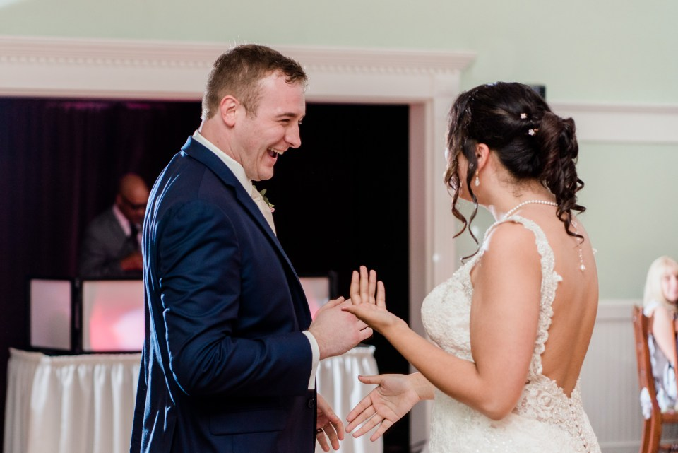 first dance bride and groom joking at tj smith's victorian house