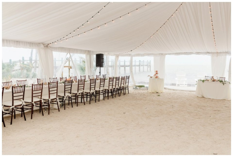 tented wedding reception on the beach in the florida keys