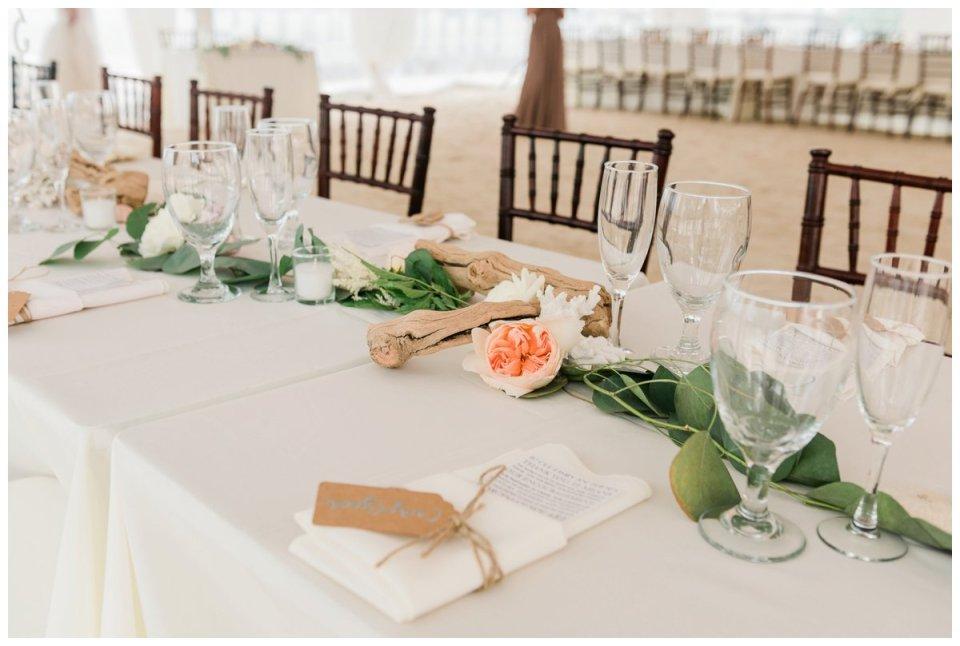 driftwood reception details at an islamorada beach wedding
