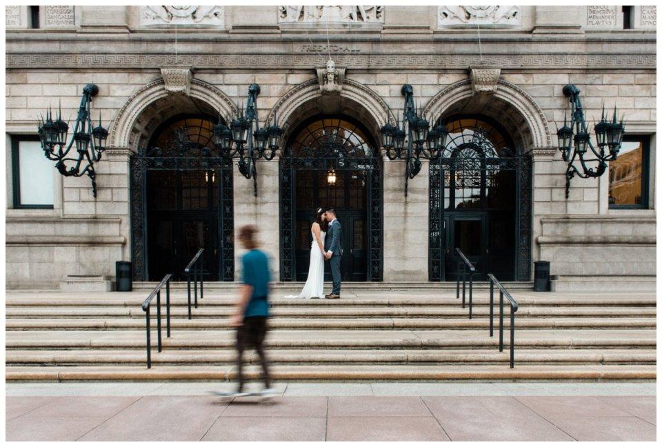 boston public library bride and groom wedding photos