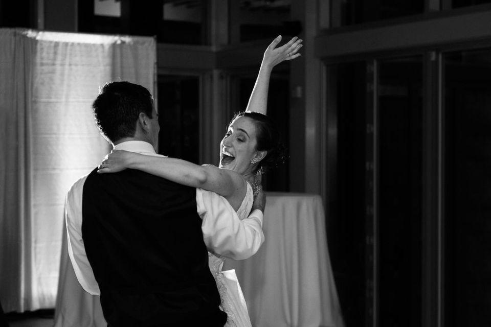 Bride and Groom having fun dancing
