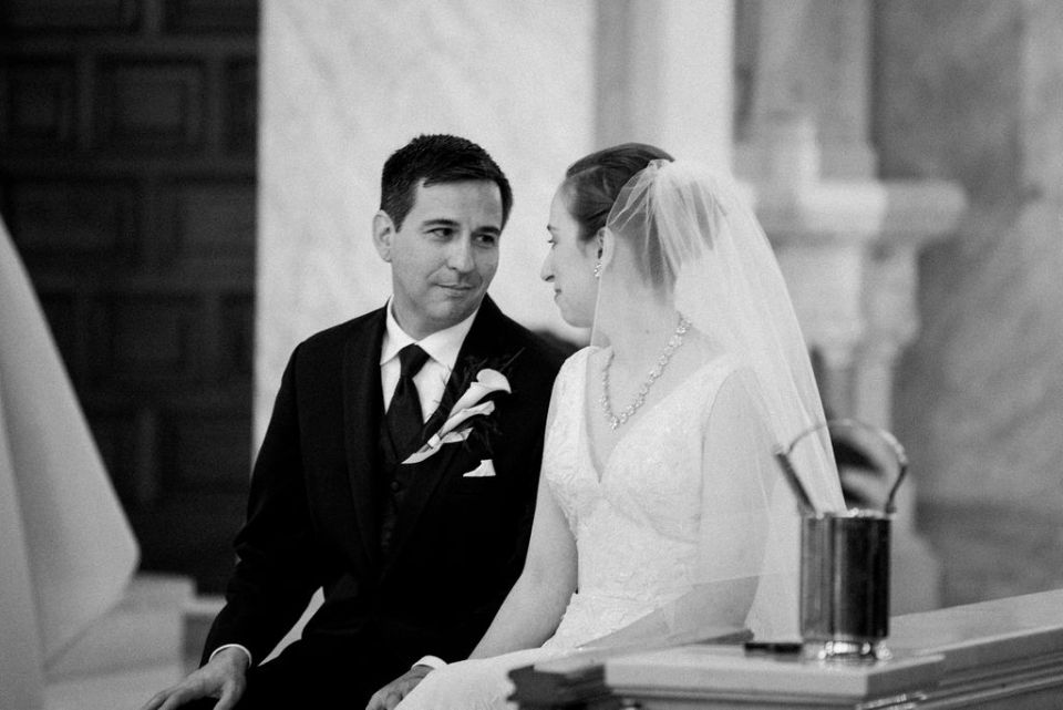 Bride and Groom's quiet moment during wedding Palm Beach