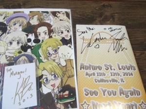 My 4 autographs. 3 voice actors and an artist.