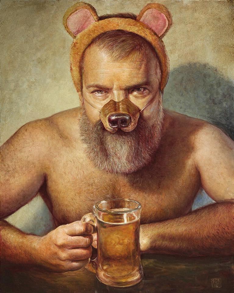 "Artist: Scott Brook / ""Bears Will Be Bears"" - Oil on canvas, 40.6 x 50.8 cm"