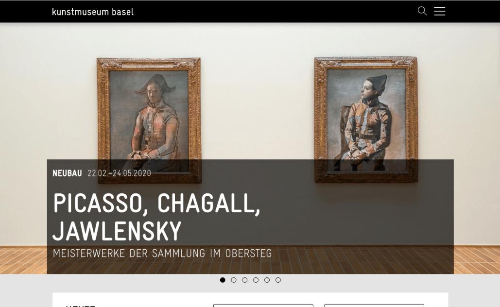 Kunstmuseum Basel - Screenshot der Website