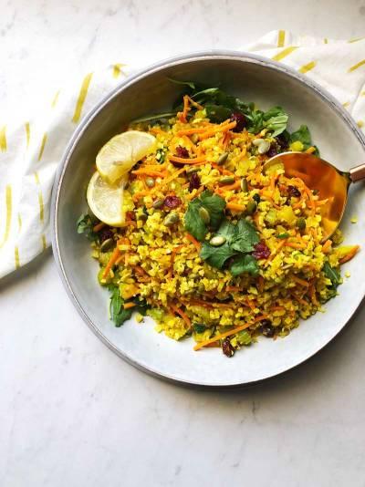 Turmeric Orange Cauliflower Rice Salad
