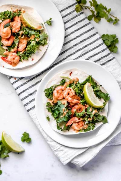 Kale & Shrimp Tostadas with Spicy Almond Butter