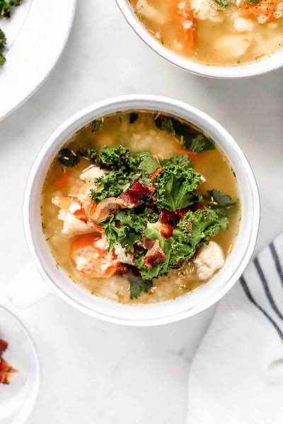 Feel Better Chicken Soup with Crispy Kale