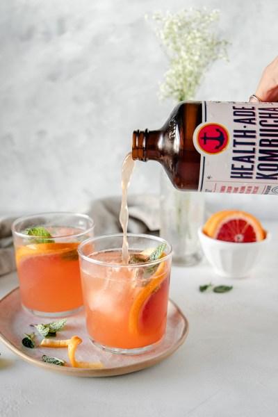 Blood Orange Mint Kombucha Mocktails