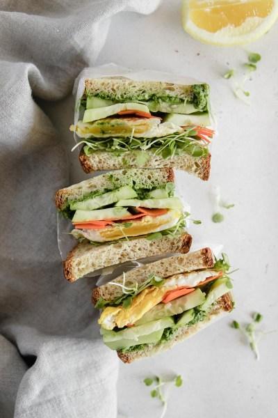 Egg Sandwiches with Kale Avocado Pesto