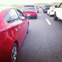 Prius parked on the freeway