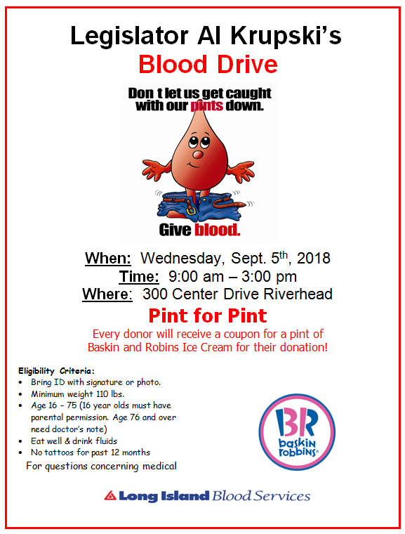Legislator Al Krupski's Blood Drive