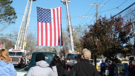 American flag arch - 2018 East Moriches Veterans Day Parade