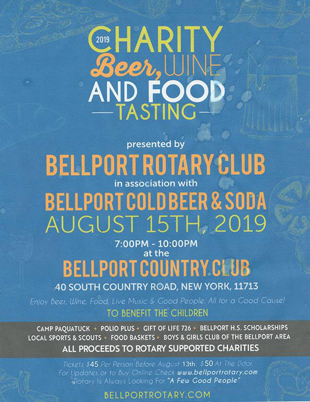 Bellport Rotary 2019 Charity Beer, Wine & Food Tasting