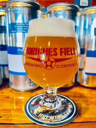 A glass of Moriches Field Brewing Company's Belgian Trickster