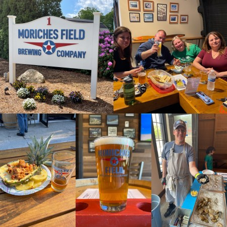 Picture of people enjoying Food and beer at Moriches Field Brewing Company