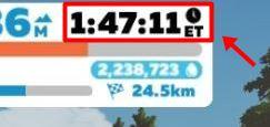 ZWIFT(ズイフト)「ライド」画面の詳細説明 走行時間