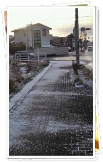 職場へノルディックウォーキングで向かう~薄っすらと雪景色の早朝のバス道~