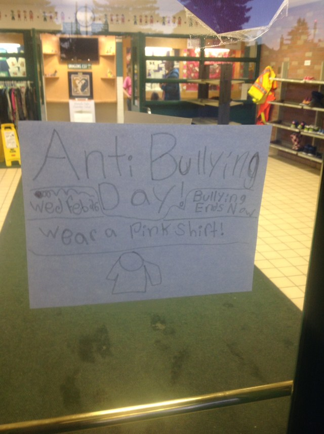 A hand-drawn poster on the door of Morinville Public Elementary School takes a stand against bullying.