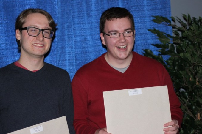 Tristan Turner (left) and Evan MacDonald were the recipients of the Social Studies 30-1 Award, presented by Quinn's Plumbing and Heating Ltd.