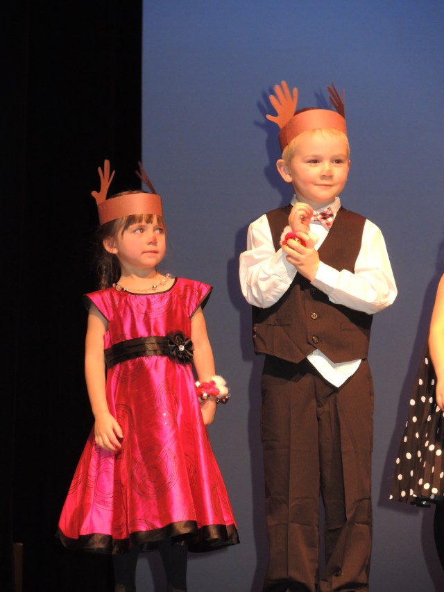 PEP students Hailey Lavallee-Hobbs and Finnan Byfield perform Rudolf the Red Nosed Reindeer.