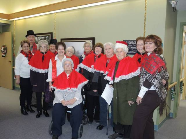 Members of Heritage Place Lodge, along with Programs Coordinator Mary Benson, Housing Administrator North Area Stacey Danake, and two members of the Morinville Minstrels (Carol Kaup and Judy Baker) took a carolling trip by bus to all of the Sturgeon Foundation Lodges: the Gibbons Spruce View Manor, Legal Chateau Sturgeon, Redwater Diamond Spring Lodge, and Chateau Mission Court and North Ridge Lodges in St. Albert Dec. 11, bringing a little Morinville Christmas cheer to other seniors.