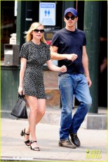 WATERMELON LOVERS - Kirsten Dunst and Garrett Hedlund snack on some fruit as they go for a stroll in NYC