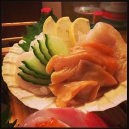 Matsumi - hotategai, aka gai, mirugai sashimi