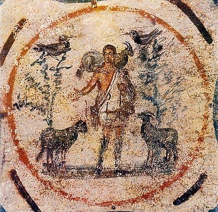 Goede herder in de Catacombe van Priscilla, 250-200 nC