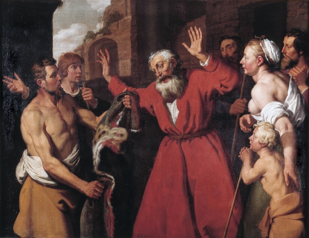 Joseph's blood-stained coat is brought and shown to Jacob, by Lambert Jacobsz