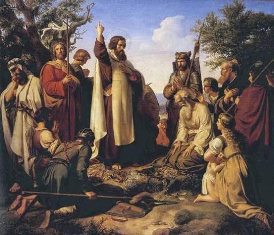 Bonifatius preekt voor de Germanen. Negentiende-eeuws schilderij van Alfred Rethel.