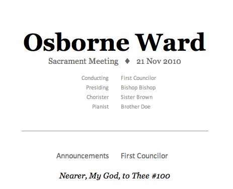 How to Print a Mormon Sacrament Meeting Program