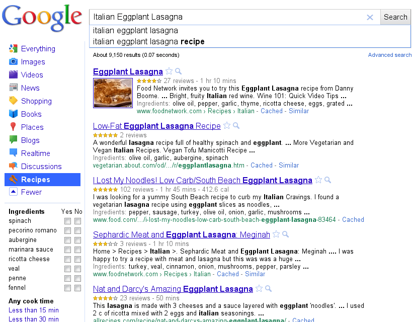 Use Google for Great Recipes