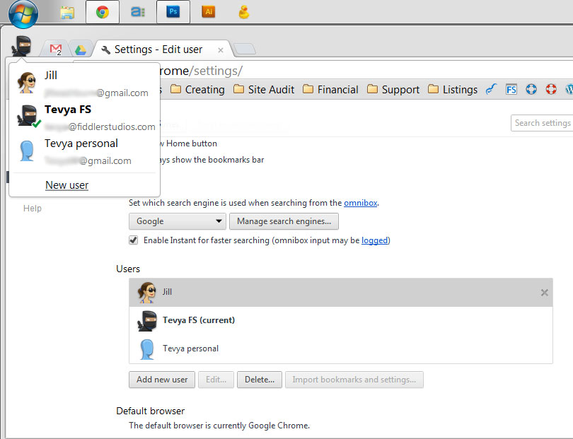 Use Chrome User Accounts for Family