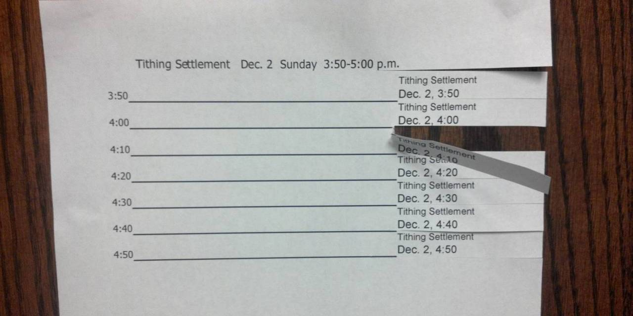 tithing settlement tear