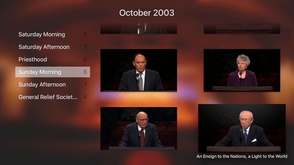 General conference appletv app interface