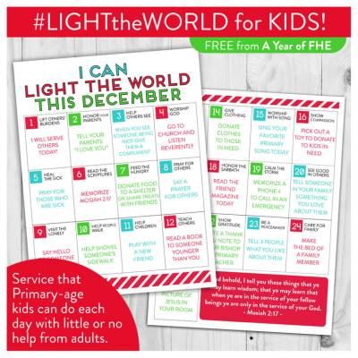 FREE DOWNLOAD // LDS LIGHT the WORLD Service Calendar for Kids!