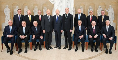 Every member of the First Presidency and the Quorum of the Twelve Apostles of The Church of Jesus Christ of Latter-day Saints poses for an iconic