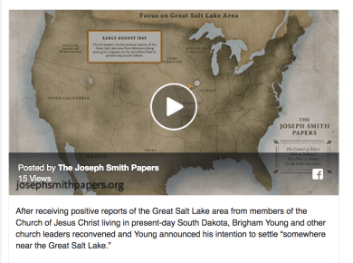"""After receiving positive reports of the Great Salt Lake area from members of the Church of Jesus Christ living in present-day South Dakota, Brigham Young and other church leaders reconvened and Young announced his intention to settle """"somewhere near the Great Salt Lake."""""""