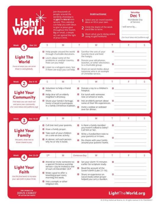 #LightTheWorld calendar 2018 service lds mormon