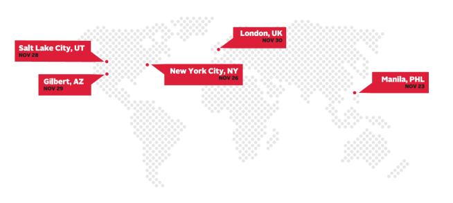 #LightTheWorld Mormon LDS Life Hacker Team Serve Worldwide Yellow Map Map 2018