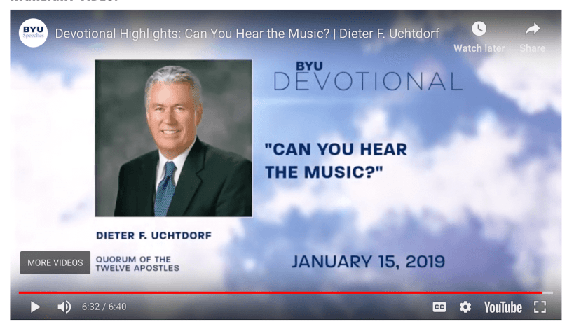 """DIETER F. UCHTDORF GIVES A BYU SPEECH ENTITLED """"CAN YOU HEAR THE MUSIC?"""" LDS Mormon BYU Speeches"""