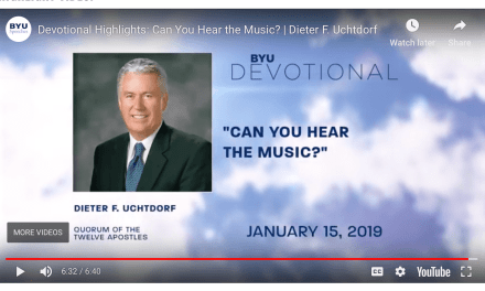 "Dieter F. Uchtdorf gives a BYU speech entitled ""Can You Hear the Music?"""
