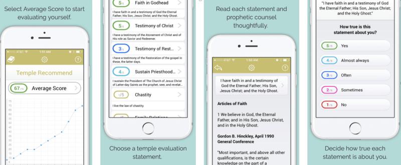Temple Recommend Evaluation App lds Mormon latter-day saints utah
