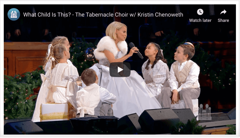 "The Tabernacle Choir and Orchestra at Temple Square, with special guest artist Kristin Chenoweth, perform the English Carol, ""What Child Is This?,"" arranged by Mack Wilberg, during the Choir's 2018 Christmas Concert"