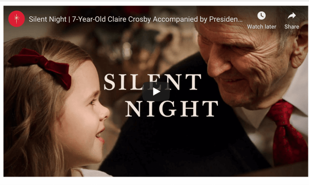 """President Russell M. Nelson sings """"Silent Night"""" with 7-Year-Old Latter-day Saint musical phenom Claire Crosby to help #LightTheWorld"""
