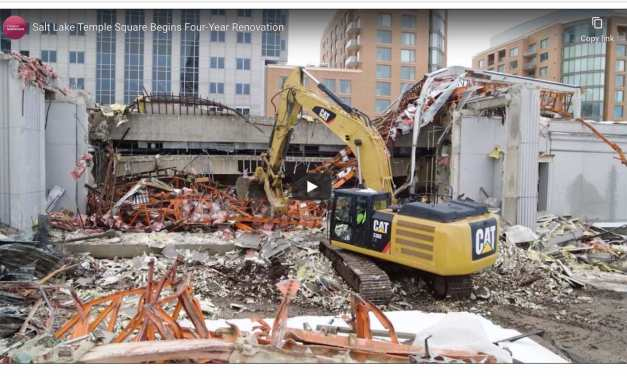 "VIDEO: ""And the walls come tumbling down:"" The Temple Square South Visitors' Center and portions of the square's south wall being demolished"